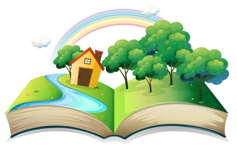 Een boek met een verhaal over een huis in het bos vector
