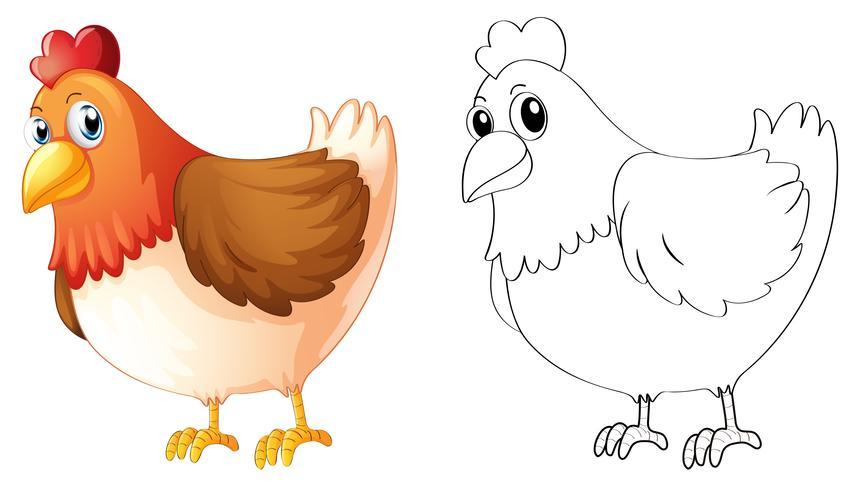 Doodles opstellen van dieren voor kip vector