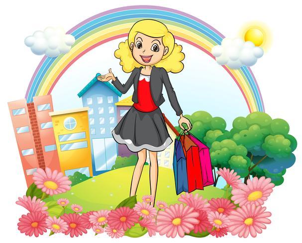 Een vrouw met papieren boodschappentassen vector