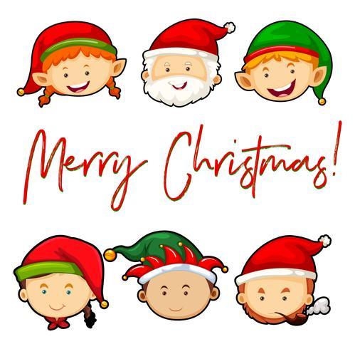 Vrolijke Kerstkaart met Santa en elfjes vector