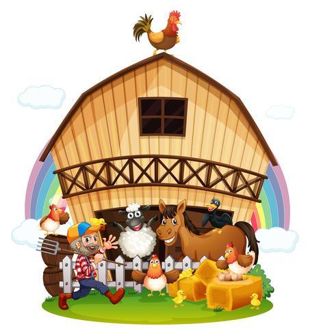 Een boerderij met boerderijdieren vector