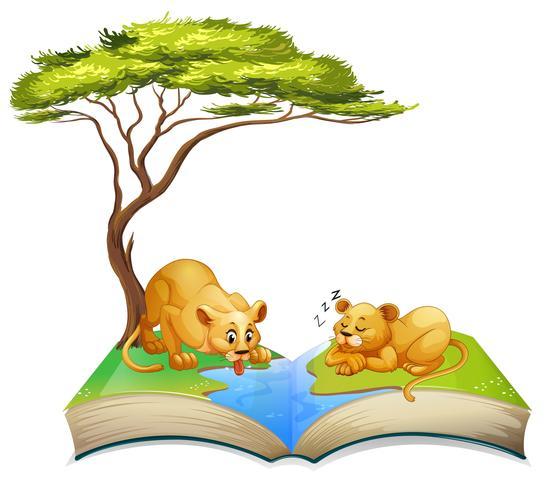 Leeuwenboek bij de rivier vector