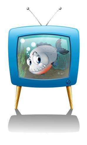 Een grote vis in de televisie vector