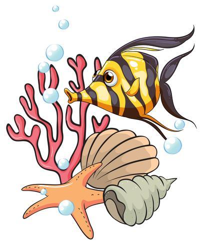 Een streepgekleurde vis onder de zee vector