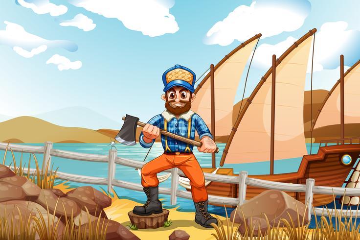 Een houthakker aan de oever met een schip vector