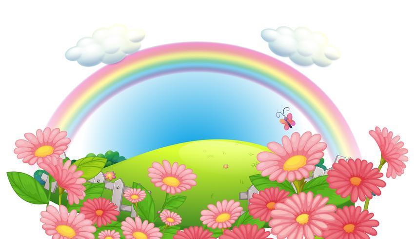 Een regenboog en een tuin met bloemen in de heuvels vector