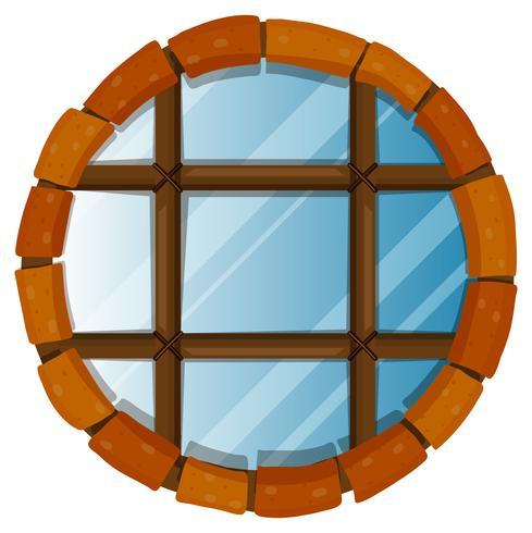 Venster met ronde bakstenen op de rand vector