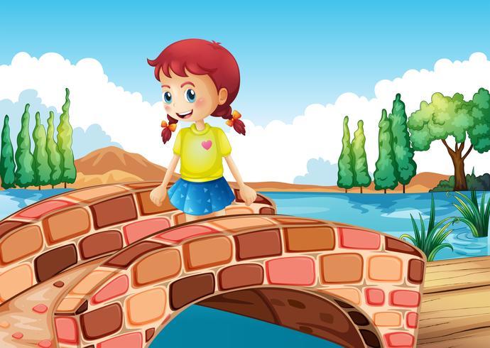 Een meisje dat de brug oversteekt vector