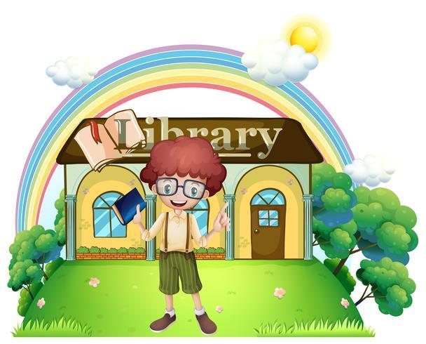 Een jongen voor de bibliotheek op de heuveltop vector