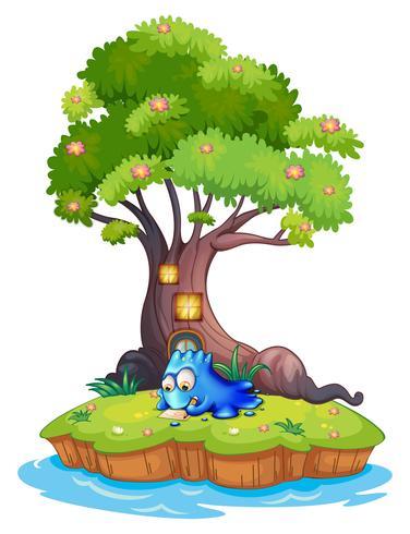 Een eiland met een blauw monster vector