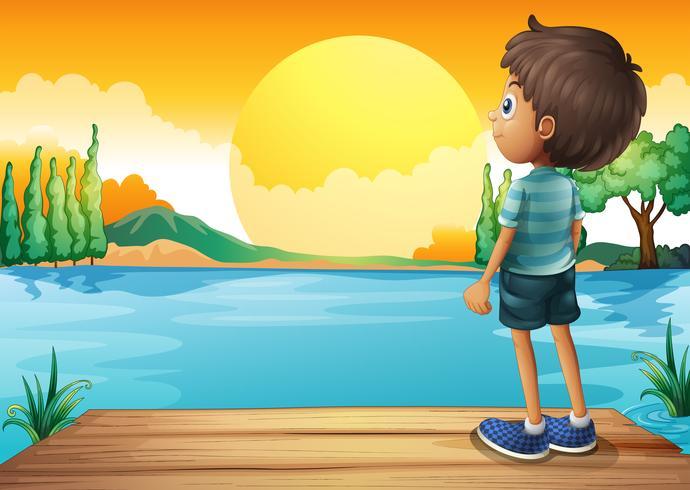Een jongen die op de zonsondergang let vector