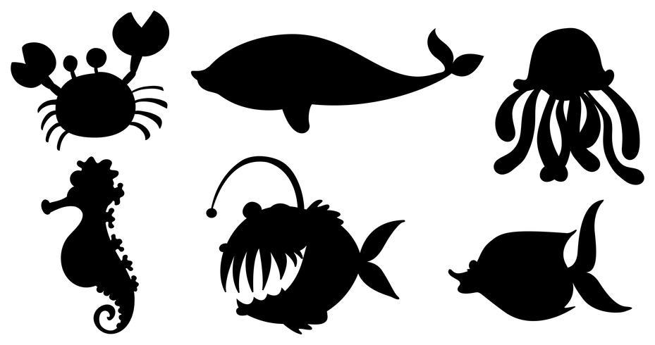 Zeedieren in zwarte kleuren vector