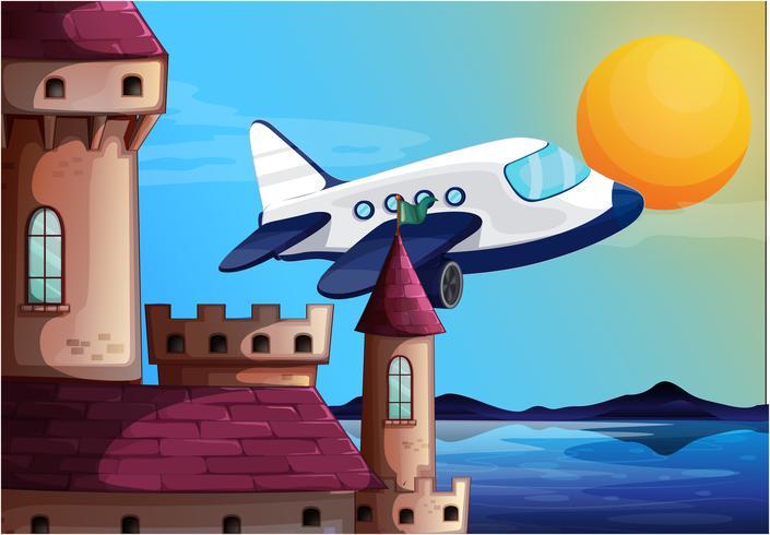 Een vliegtuig dichtbij het kasteel vector