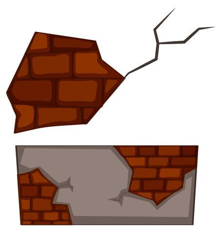 Brickwall met barsten op witte achtergrond vector