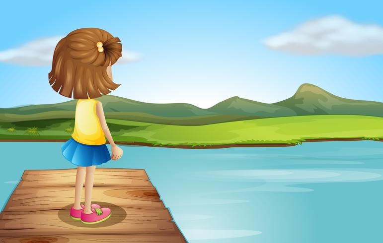 Een klein meisje dat zich bij de houten haven bevindt vector