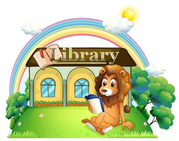 Een leeuw buiten een bibliotheek vector