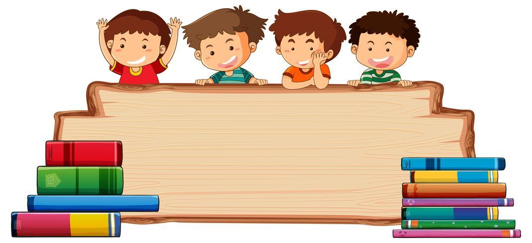 Kinderen op een houten bord vector
