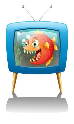 Een televisieshow met een grote oranje piranha vector