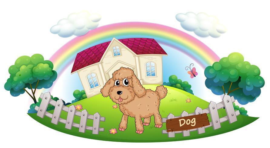 Een bruin puppy voor een huis vector
