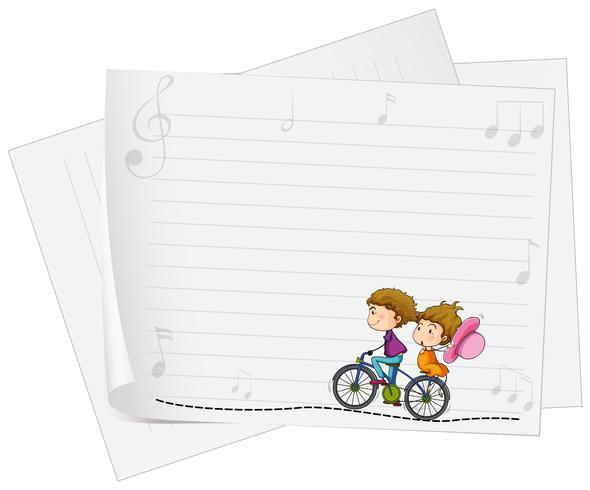 Ontwerp van het papier met liefde paar op de fiets vector