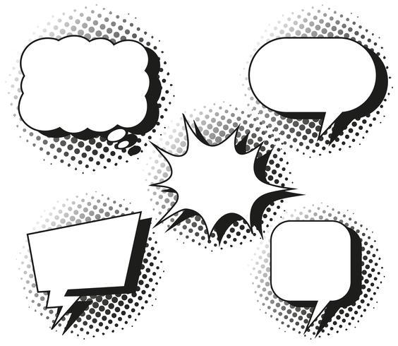 Vijf ontwerpen van tekstballonnen vector