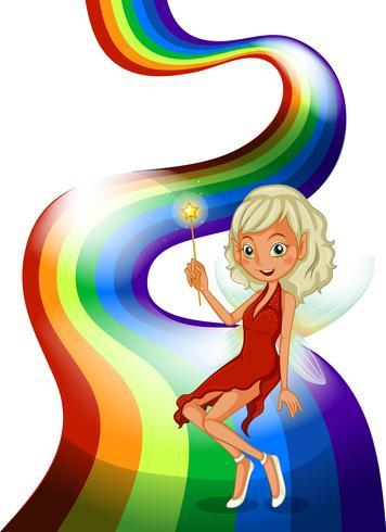 Een lachende fee boven de regenboog vector
