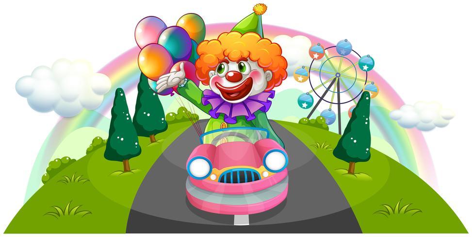Een gelukkige clown die in een roze auto berijdt vector