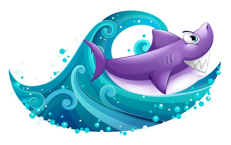 Een grote golf met een haai vector