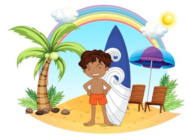Een jongen en zijn surfplank op het strand vector