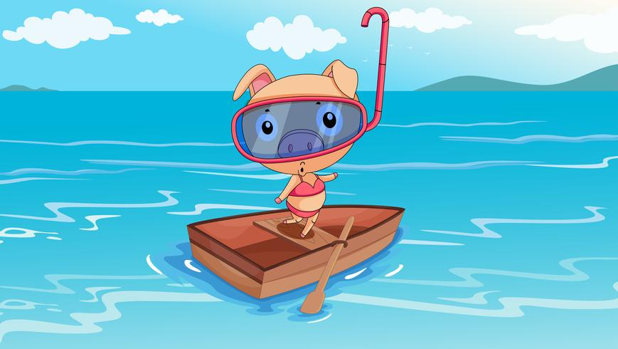 Een varken dat op een boot berijdt vector