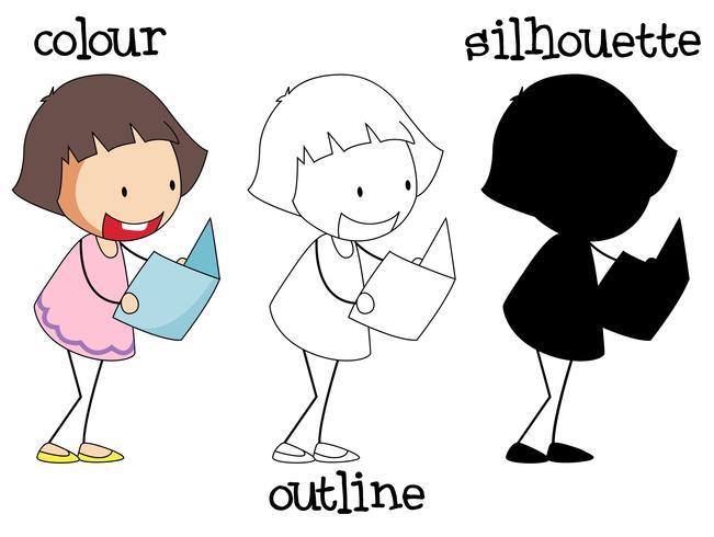 Verschillende afbeelding van meisje leesboek vector