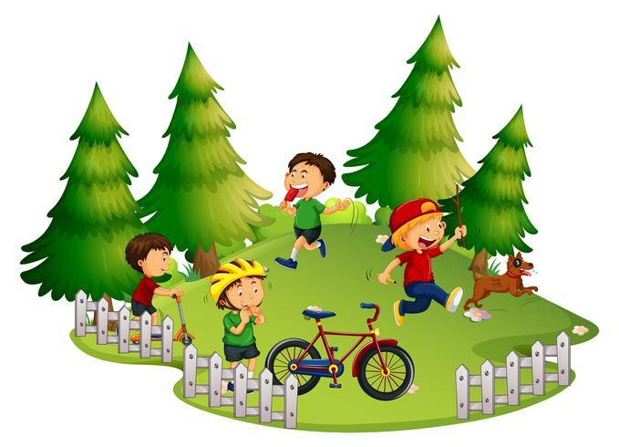 Kinderen die in park spelen vector