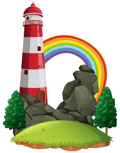 Scène met vuurtoren en regenboog vector
