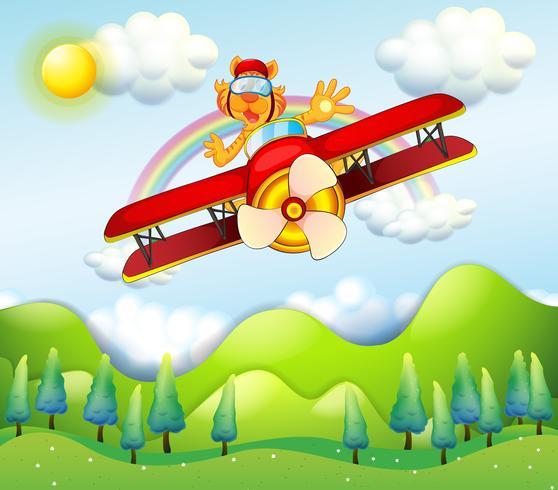 Een rood vliegtuig aangedreven door een tijger vector