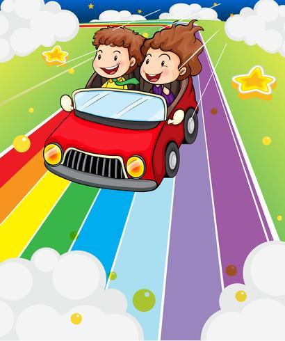 Twee kinderen rijden in een rode auto vector