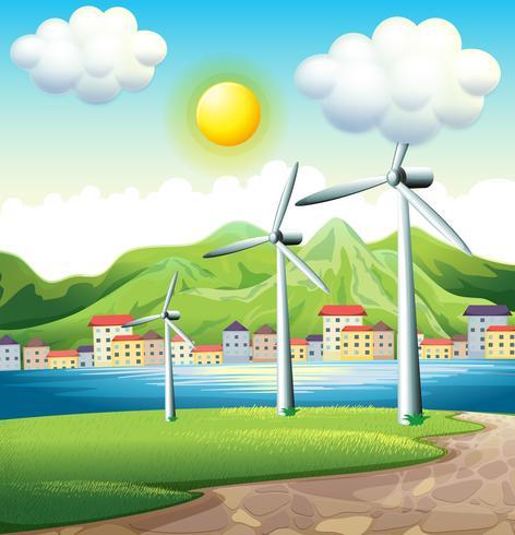 Drie windmolens door het dorp vector