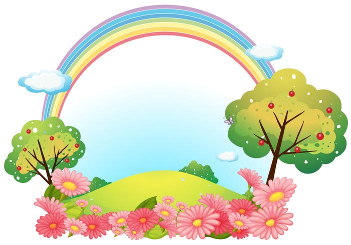 Een heuvel met bloemen en bomen vector