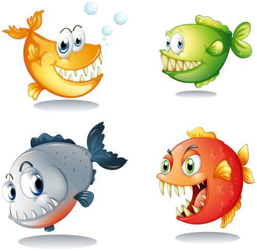 Vier verschillende soorten vissen met grote hoektanden vector
