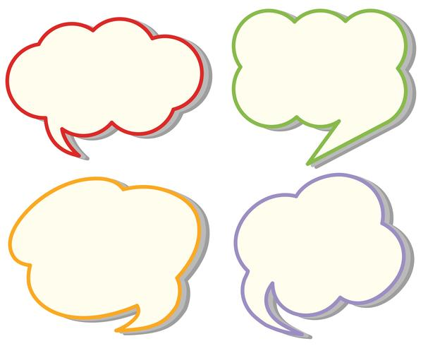 Vier verschillende cloud-spraaksjablonen vector