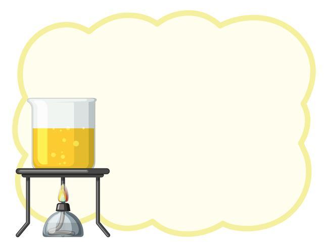 Grensmalplaatje met gele vloeistof in beker vector