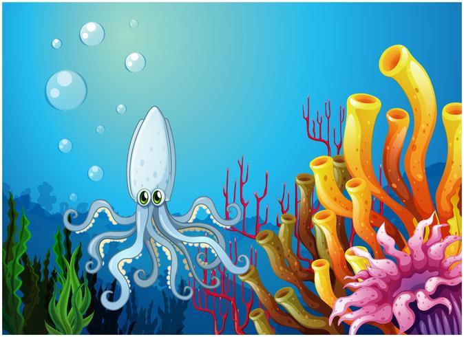 Een diepe zee met een octopus vector