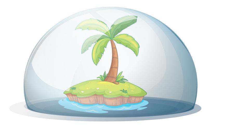 Een eiland met een kokospalm vector