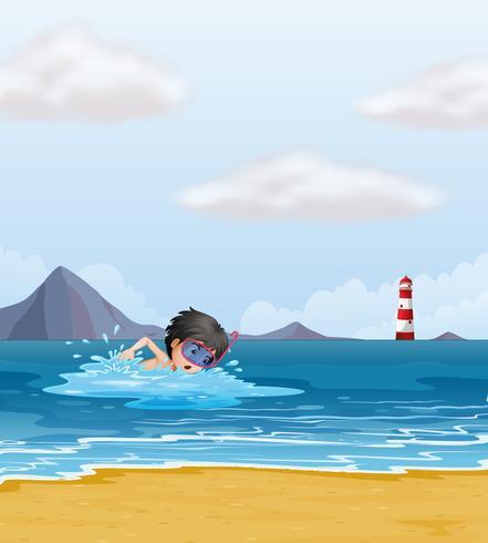 Een jongen die in het overzees dichtbij de vuurtoren zwemt vector