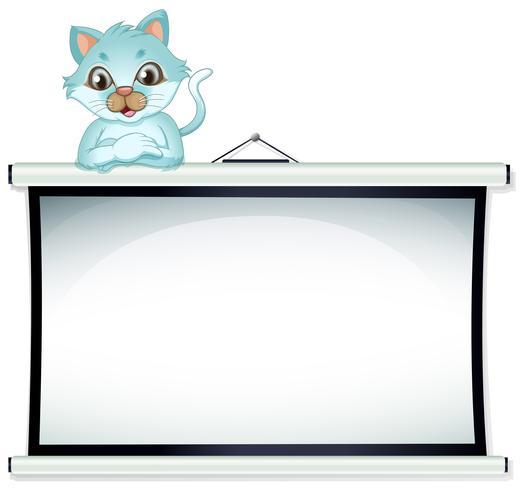 Een kat leunt over een lege sjabloon vector