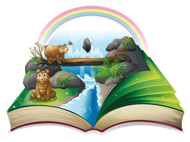 Waterval boek vector