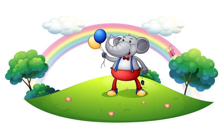 Een olifant met ballonnen op de heuveltop vector
