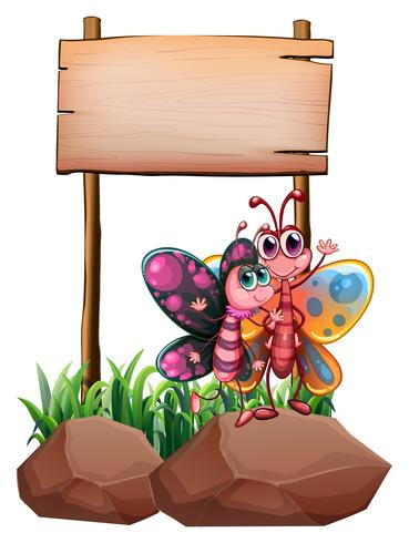 Twee vlinders boven de rots dichtbij het lege uithangbord vector