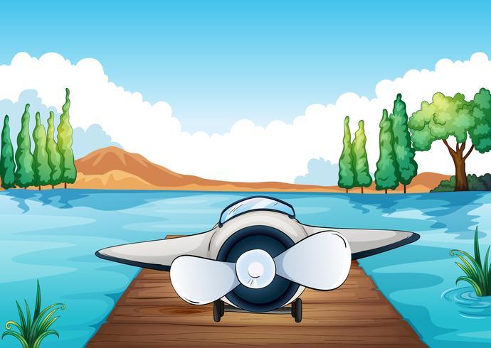 rivier, bank en vliegtuig vector