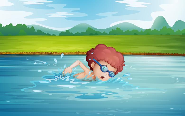 Een jongen die bij de rivier met beschermende brillen zwemt vector