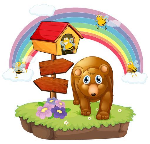 Een bruine beer dichtbij de pethouse en de pijlraad vector